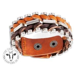 Moto Bracelet Leather Cuff Country Metal Wrap NEW